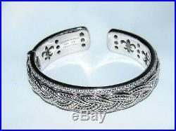 Signed JUDITH RIPKA Sterling Silver Pave Cubic Zirconia Braided Cuff Bracelet