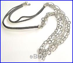 Silpada. 925 Sterling Silver Everlasting Necklace Cubic Zirconia Suede N2302