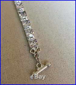 Silpada B0994 RARE Sterling Silver Faceted Square Cubic Zirconia Toggle Bracelet