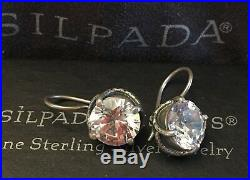 Silpada CENTER STAGE 10mm Cubic Zirconia Sterling Silver Earring W1863