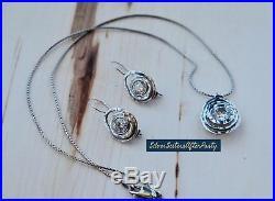 Silpada CZ Swirl Set N1338 W1330 925 Sterling Silver Cubic Zirconia HTF Shiny