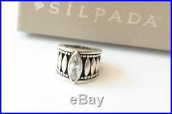Silpada DEFECT Sterling Silver Oxidized Marquise Cubic Zirconia Sz 5 Ring R1293