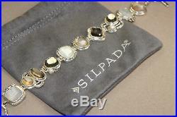 Silpada Exemplar Bracelet Sterling Silver Pyrite Lip Shell Glass CZ B2790 Cubic