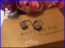 Silpada RARE HTF Cubic Zirconia Sterling Silver Earrings Locking Wires MINT