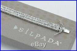 Silpada Sterling Silver Double Row Tennis Cubic Zirconia Box Clas Bracelet B1390