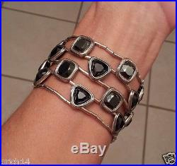 Silpada Wide Sterling Silver Cubic Zirconia & Hematite Stretch Bracelet B2312