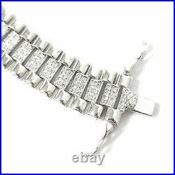Silver Bracelet Watch Strap style Cubic Zirconia 22.2g 925 Sterling Wrist 6.5