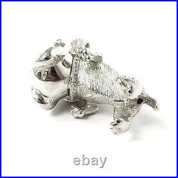 Silver Bulldog Pendant Cubic Zirconia Large Size 31.2g NEW 925 Sterling Silver