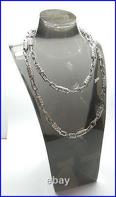 Silver & CZ Necklace Chain Tube Links Cubic Zirconia 925 Sterling 50.5grams