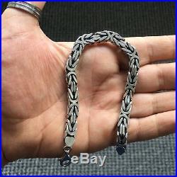 Silver Mens Bracelet Cubic Bali Byzantine Kings Chain 925 Sterling 7 mm 24 cm