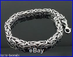 Silver Mens Bracelet Cubic Bali Byzantine Kings Chain 925 Sterling 7 mm 25 cm