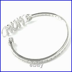 Silver Mum Bangle NEW Ladies 925 Sterling15g Cubic Zirconia Stones Hallmarked