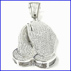 Silver Praying Hands Pendant 925 Sterling White Cubic Zirconia Stones 17.7g 2.5
