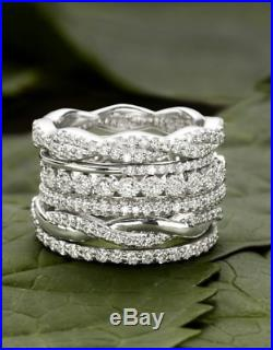 Six Set Of Stackable/Stacking Rings In Cubic Zircon & Sterling Silver For Women