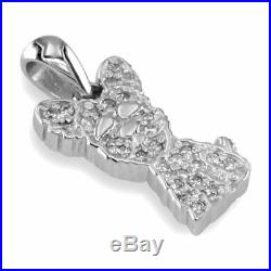 Small Cubic Zirconia Yorkie Charm in Sterling Silver