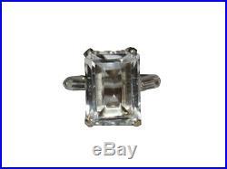 Small Sterling Silver Emerald Cut Rock Crystal Quartz and Cubic Zirconia Baguett