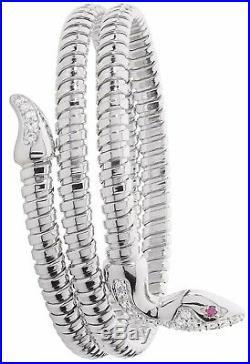 Snake Bangle Solid Silver Rhodium Plate Cubic Zirconia Ladies Bracelet 26 grams