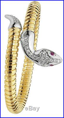 Snake Bangle Solid Silver Yellow Gold Cubic Zirconia Ladies Bracelet 15 grams