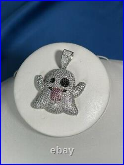 SnapChat Ghost 925 Sterling Silver Pendant Cubic Zirconia Stones Iced Out White