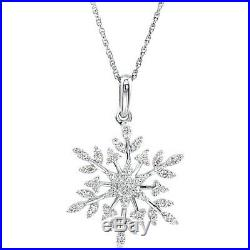 Snowflake Necklace Cubic Zirconia Sterling Silver Quality made Msrp $256