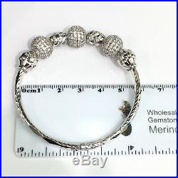 Solid 0.925 Silver Round Lock Bangle With Beaded Cubic Zirconia. Sz 58mm
