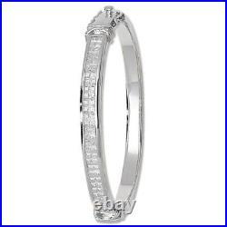 Solid Silver Bangle Ladies Cubic Zirconia Sparkling Hinged Bracelet 29 Grams
