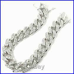 Solid Silver Bracelet Heavy Curb Sterling White Cubic Zircoinas 110.5g 8.5 Inch