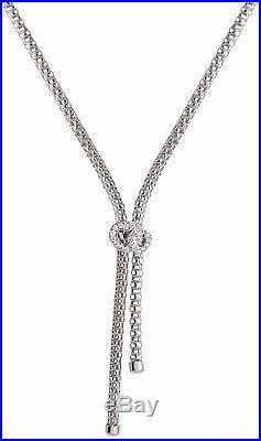 Solid Silver Lariat Necklace Ladies Heart Necklet Cubic Zirconia 17