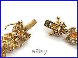 Solid Sterling Silver Gold Vermeil Cubic Zirconia Flowers Bracelet