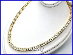 Solid Sterling Silver Gold Vermeil Princess Cut Cubic Zirconia Necklace