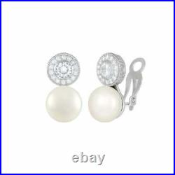 Sonata AAA+ Freshwater Pearl and Cubic Zirconia Sterling Silver Clip On Earrings