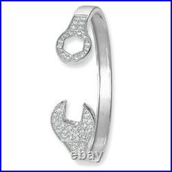 Spanner Bangle Solid Silver Ladies Bracelet Cubic Zirconia 15.5 grams