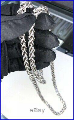 Special Design 925 Sterling Silver Gents Cubic Link Chain WHITE STONES