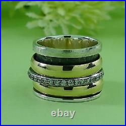 Spinner Two Tone 9k Yellow Gold Silver 3.2 Carat Cubic Zirconia Stone Ring Size