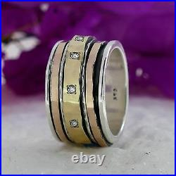 Spinner Two Tone 9k Yellow & Rose Gold Silver 0.8 Carat Cubic Zirconia Ring Size
