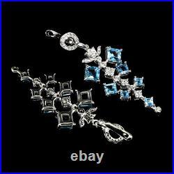 Square Top Swiss Blue Topaz 5mm Cubic Zirconia 925 Sterling Silver Earrings