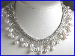 Statement Bridal Pearl & Cubic Zirconia Necklace Sterling Silver Elegant Jewelry