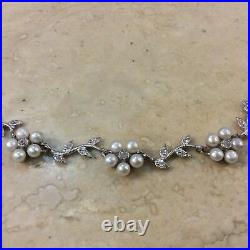 Statement Sterling Silver Pearls and Cubic Zirconia Flower Collar Necklace