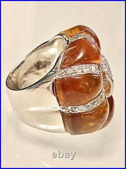 Statementbaltic Ambercubic Zirconia925 Sterling Silver Band Ringsz 518grams