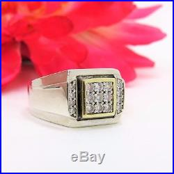 Sterling Silver & 10 K Yellow Gold Men's Cubic Ziconia Illusion Ring Size 11