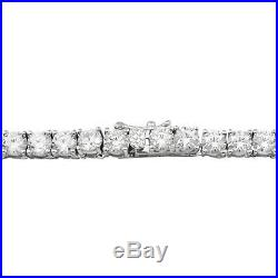 Sterling Silver 4mm White Cubic Zirconia Square Prong Tennis Necklace, 36'