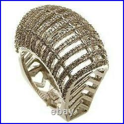Sterling Silver 5A CZ Cubic Zirconia High Set Art Deco Mesh Domed Ring