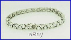Sterling Silver 925 15.00ctw Trillion Cut Cubic Zirconia Tennis Bracelet-8.5