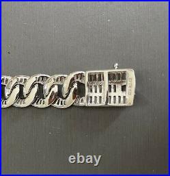 Sterling Silver 925 & Cubic Zirconia Baguette All Around Chain Necklace 22 Long