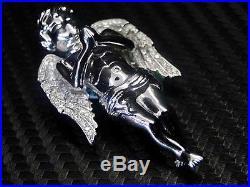Sterling Silver 925 Fancy C. Z Cubics Zirconia Angel Cherub Wing Pendant Charm
