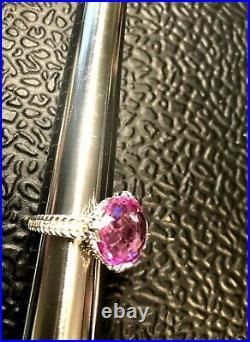Sterling Silver 925 Judith Ripka Ring Pink Cubic Zirconia Checkboard Sz 10
