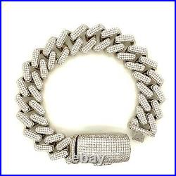 Sterling Silver 925 Miami Cuban Link Bracelet Solid Box Lock Cubic Zirconia 17mm