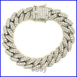 Sterling Silver 925 Miami Cuban Link Bracelet With Cubic Zirconia Prong Set 15mm