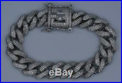 Sterling Silver 925 Miami Cuban Link Iced Out Bracelet Cubic Zirconia CZ 13mm