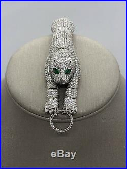 Sterling Silver 925 Panther Bracelet Cubic Zirconia